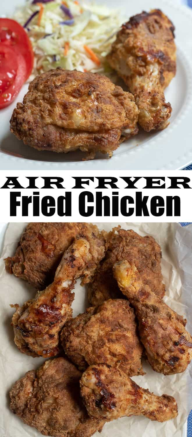 A vertical two image collage of Air Fryer Fried Chicken on a white platter and on a serving plate with overly text.