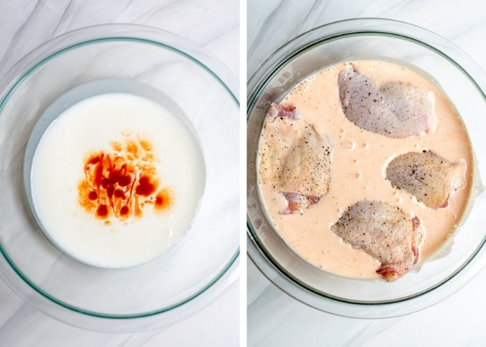 Two images side by side - buttermilk and hot sauce in a glass mixing bowl and raw chicken immersed in the mixture.