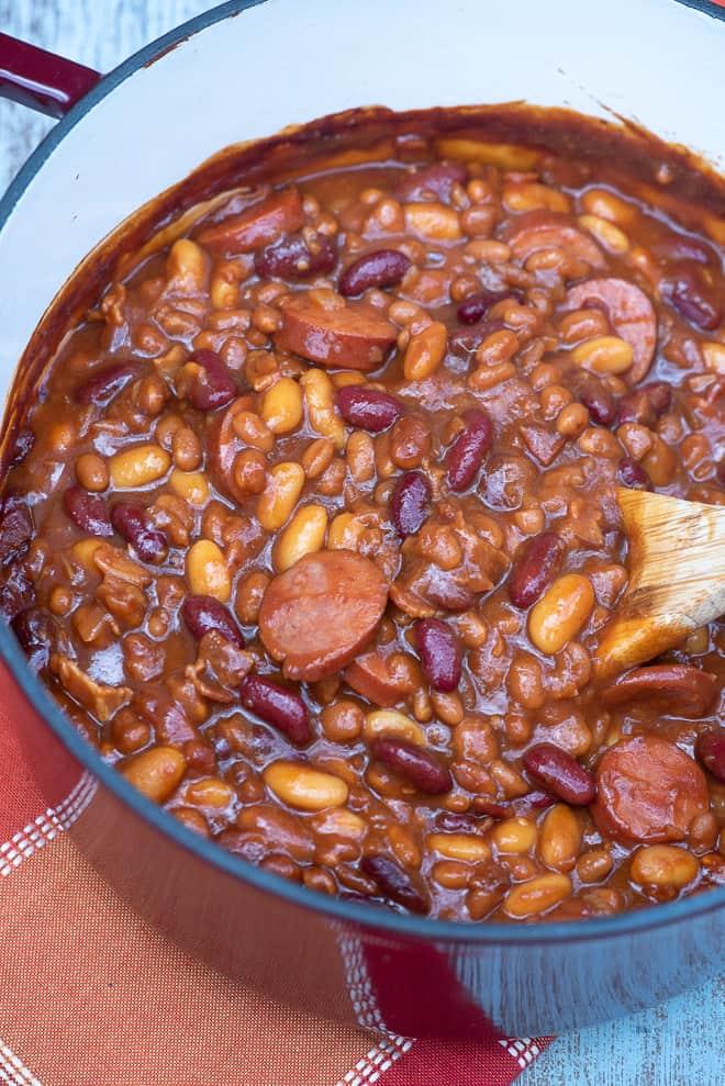 A big pot full of Kielbasa Baked Beans.