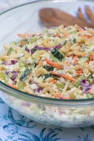 A close up of a bowl of coleslaw with macaroni and slices of cucumber.