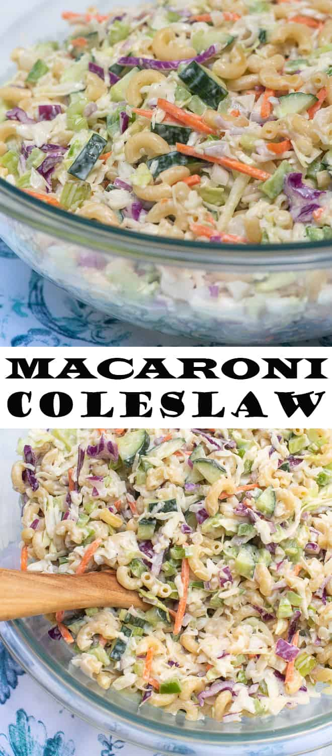 A vertical two image collage of Macaroni Coleslaw in a glass serving bowl with overlay text.