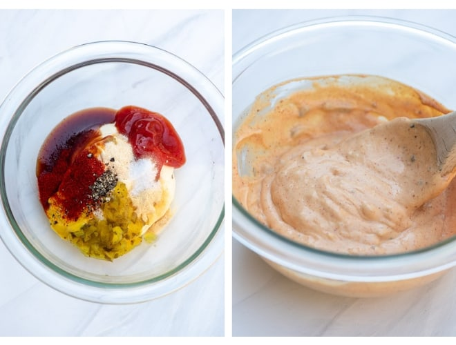 Two images side by side of the ingredients for Awesome Burger Sauce being combined in a glass mixing bowl.