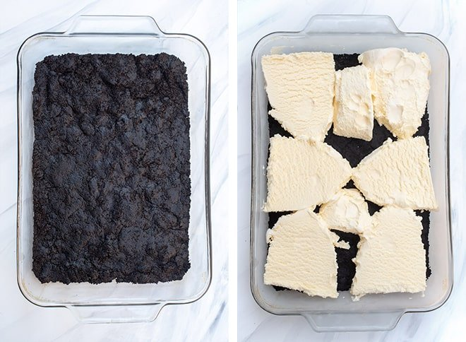 Two images - one of the Dark Chocolate Oreo Crust and the second of slices of vanilla ice cream placed over the crust.