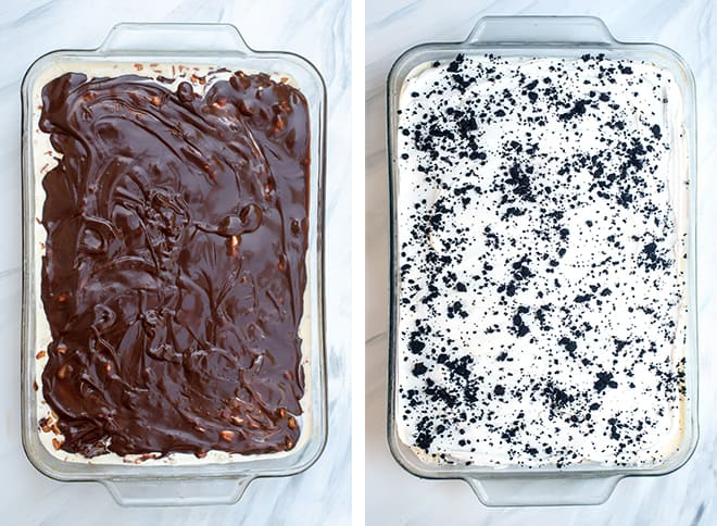 Two images - one of the chocolate fudge sauce poured over the peanut layer and the second shows the final layer of Cool Whip and crushed Oreo's.