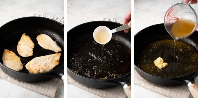Step by step photos for making chicken scallopini