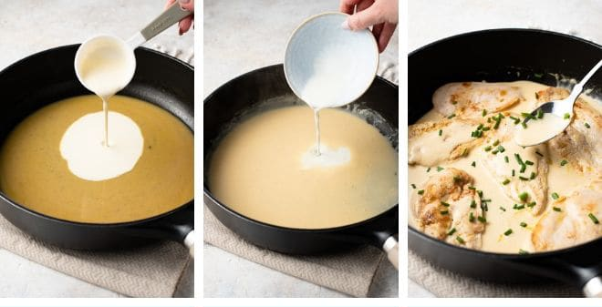 Step by step photos for making a creamy sauce for chicken scallopini