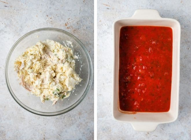 Step by step photos for making chicken parmesan stuffed shells