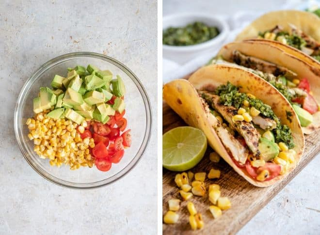 Step by step photos for making a Tomato, Corn, Avocado Relish for chimichurri chicken tacos