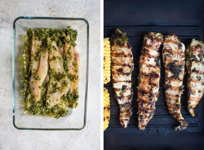 Step by step photos for making grilled chicken for chimichurri chicken tacos