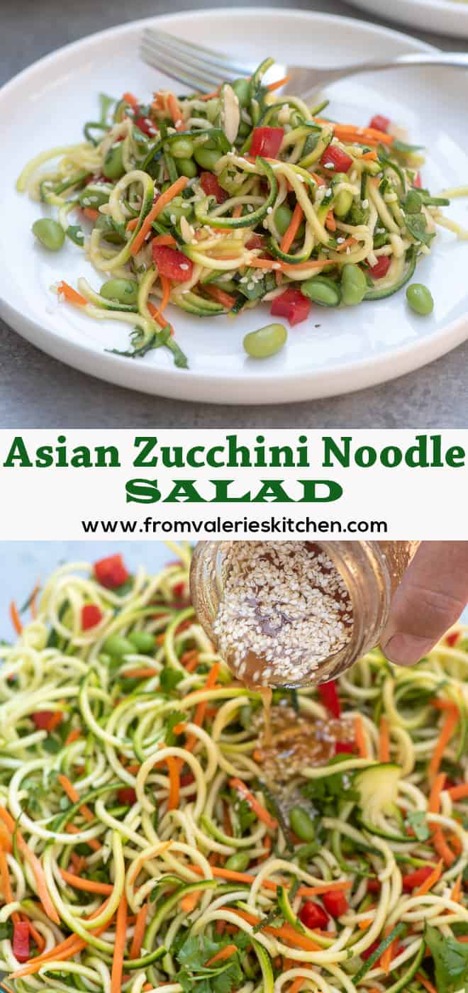 A long vertical collage of Asian Zucchini Noodle Salad on a white plate with a fork and all of the ingredients tossed together in a glass bowl.