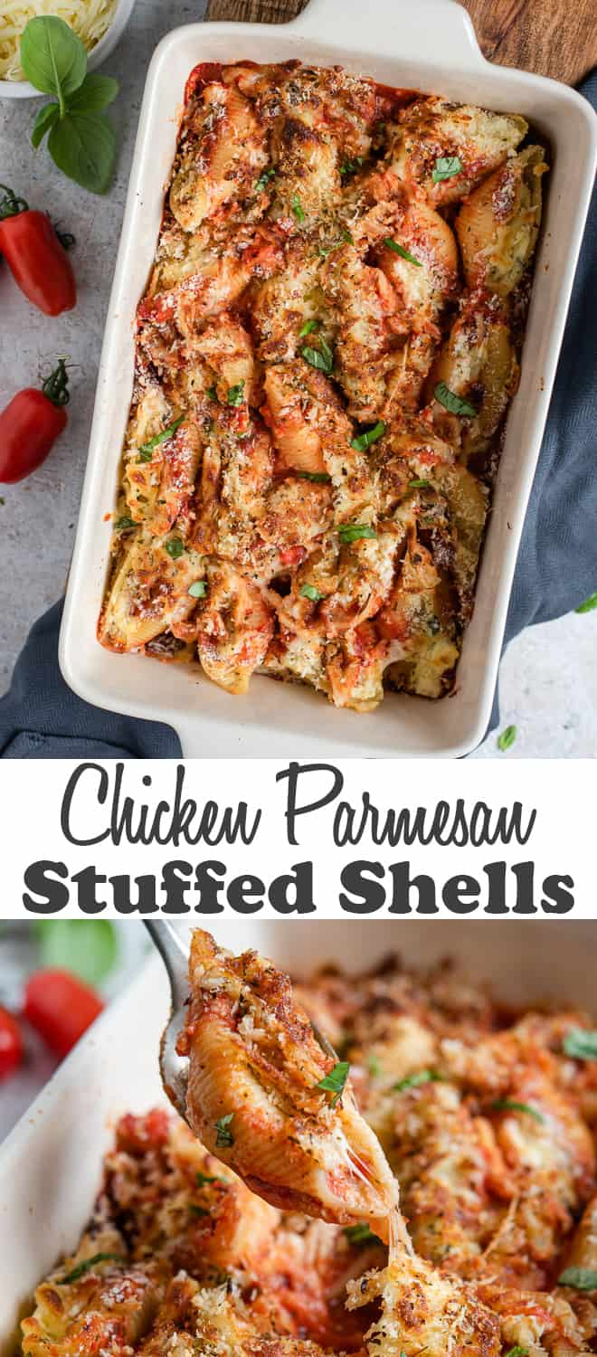 A two image vertical collage of Chicken Parmesan Stuffed Shells with overlay text.
