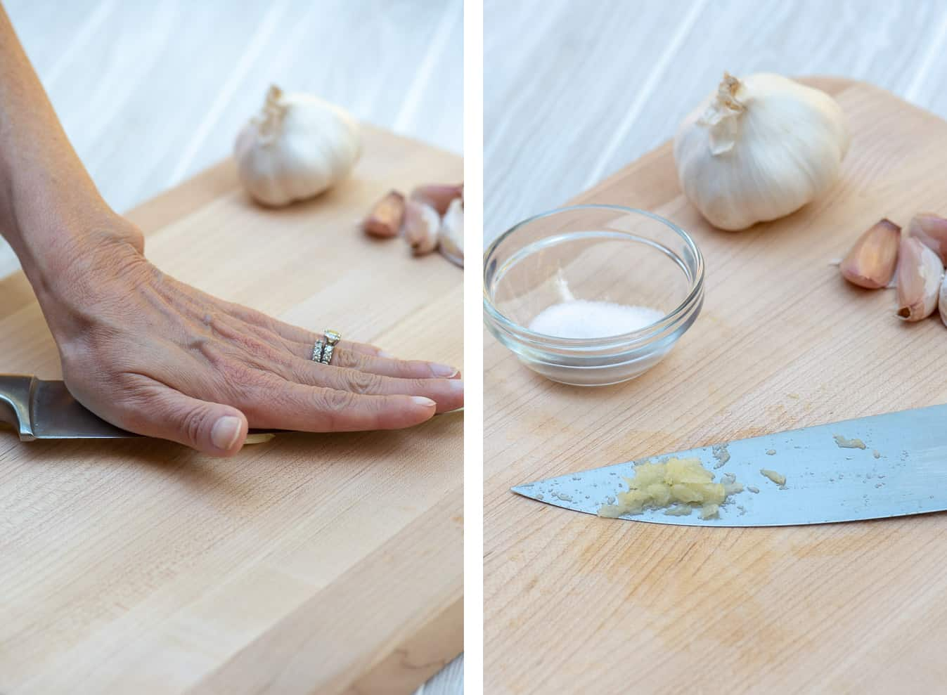 Two images side by side demonstrating how to crush garlic.