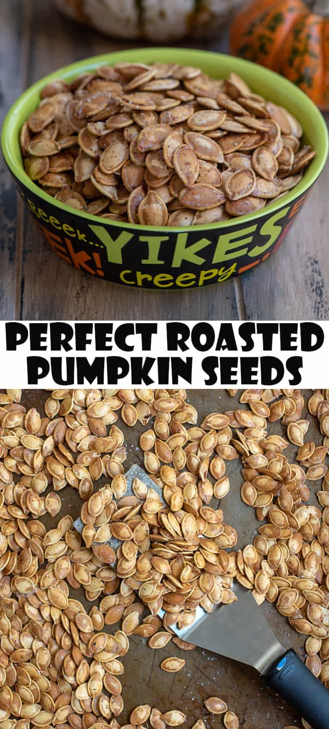 A 2 image vertical collage of pumpkin seeds in a green bowl and on a baking sheet with overlay text.