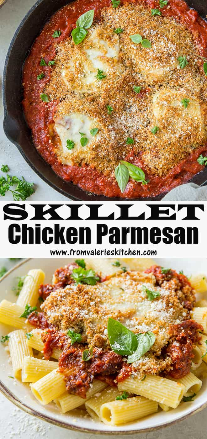 A two image vertical collage of Skillet Chicken Parmesan with text overlay.