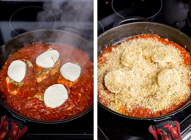 Two images showing the process of adding the cheese and bread crumb topping.