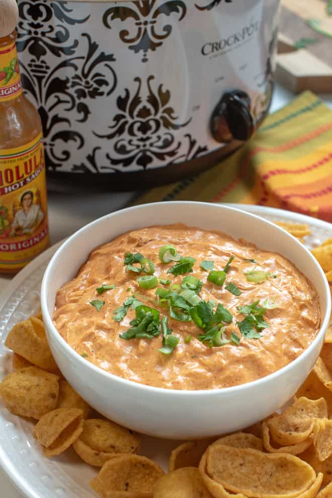 Slow Cooker Chicken Enchilada Dip in a white serving bowl garnished with green onion and cilantro.