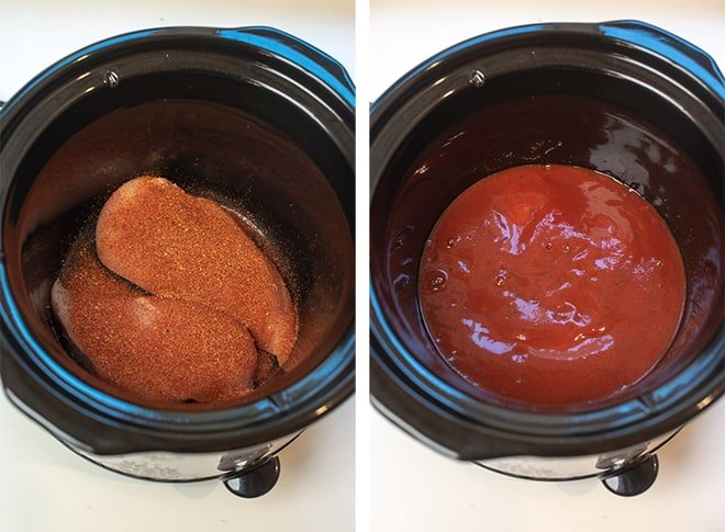 Two process images - chicken in a slow cooker sprinkled with taco seasoning and red enchilada sauce is poured over the top.