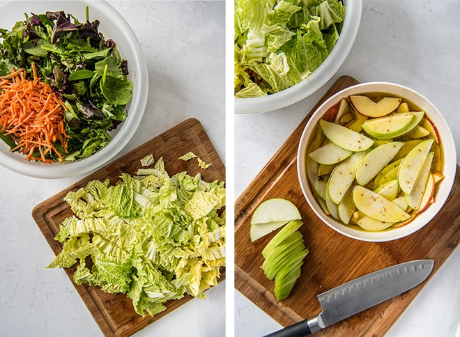 Two in process images showing the napa cabbage, spring greens, and julienned carrots and the sliced apples resting in the dressing in a large white bowl.