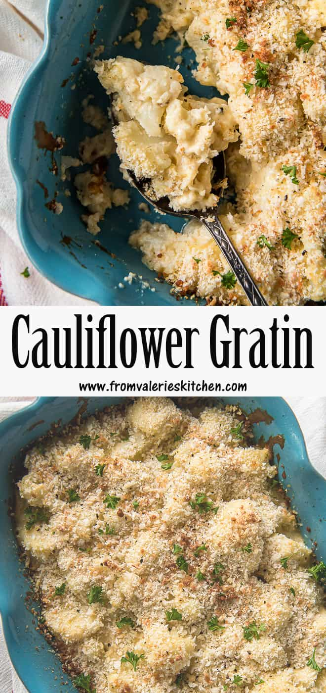 A two image vertical collage of Cauliflower Gratin with overlay text.