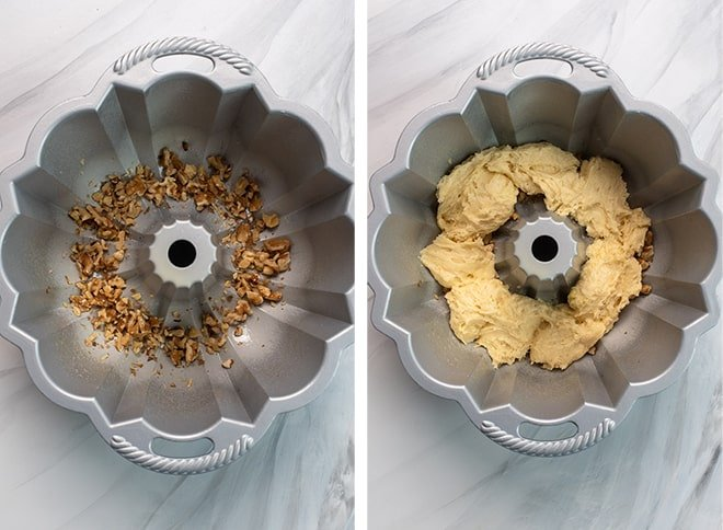 Two in process images showing the chopped walnuts on the bottom of the greased Bundt pan and the first layer of cake batter spread over the top.