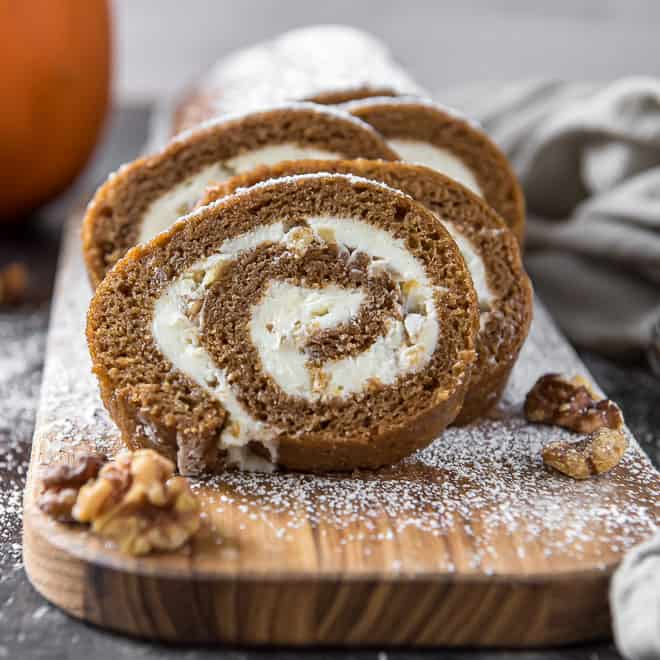 A close up of slices of Pumpkin Roll.