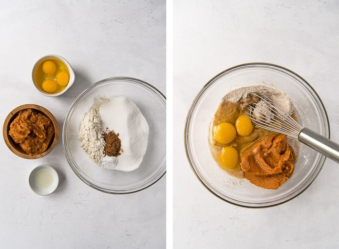 Two images showing the dry ingredients and wet ingredients being combined in a glass mixing bowl.