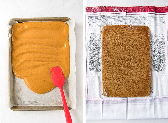 Two process photos showing the cake batter being spread into a baking pan and the cake transferred to a kitchen towel dusted with powdered sugar.