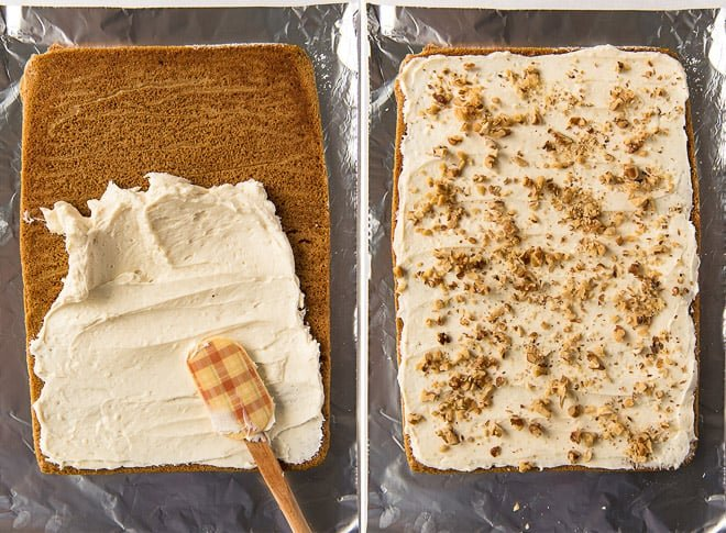 Two process photos showing the cream cheese filling being spread over the unrolled cake and then sprinkled with walnuts.