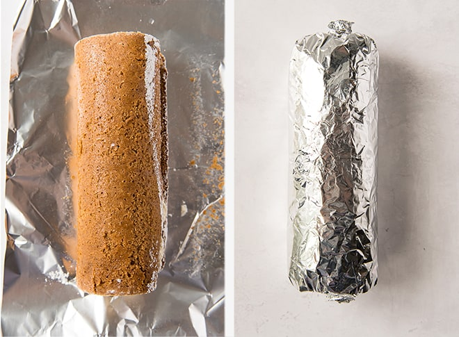 Two process photos showing the cake rolled up and then wrapped in foil.