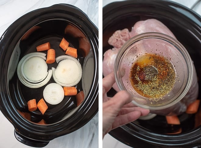 In process images of sliced onion and carrot chunks in the bottom of a 6-quart slow cooker and the seasoning and butter mixture.