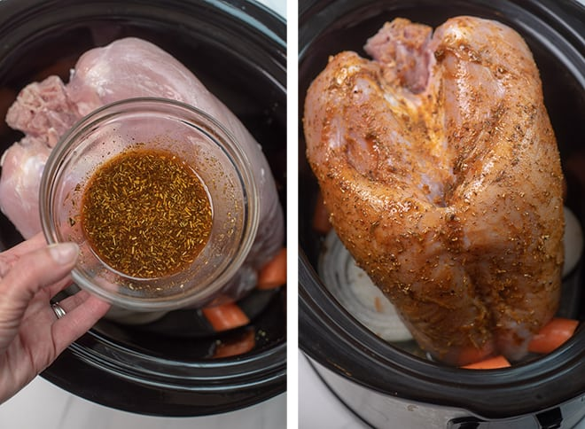 Coating the turkey breast with the butter and seasoning mixture.