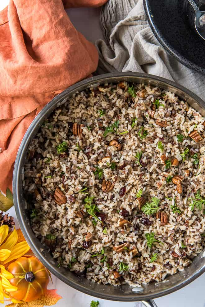 Wild Rice Pilaf in a stainless steel pan