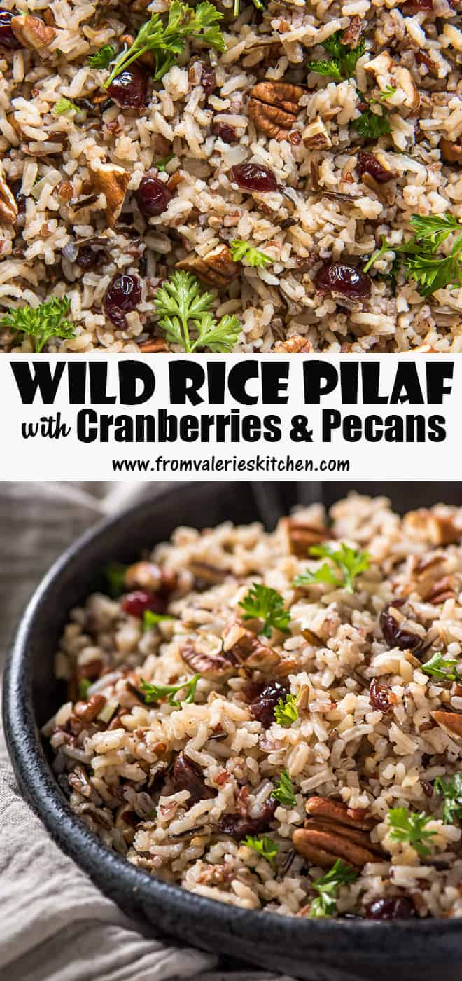A vertical two image collage of Wild Rice Pilaf with Cranberries and Pecans with overlay text.