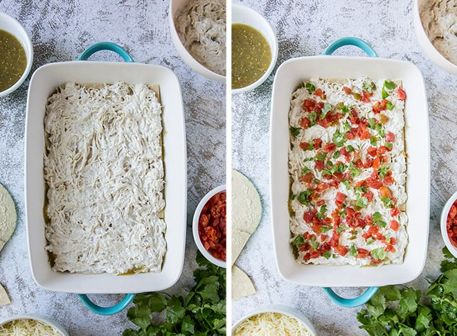 Two in process images showing shredded rotisserie chicken layered over the tortillas and Ro-Tel tomatoes and cilantro over the top.