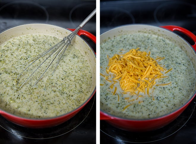 Two in process images showing the cream, milk, and cheese added to the soup.
