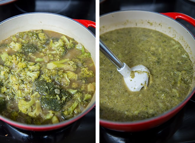 Two in process images of the tender broccoli being pureed with an immersion blender.