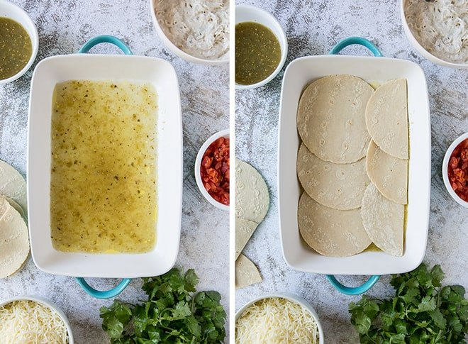 Two in process images showing salsa verde on the bottom of a casserole dish and the tortillas placed on top.