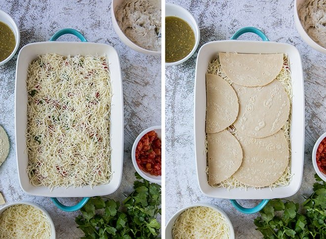Two in process images showing shredded cheese and then tortillas layered over the top.