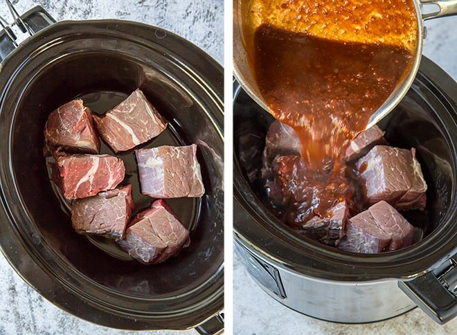 Two in process images showing the chunks of chuck roast added to the Crock-Pot and the homemade BBQ sauce being poured over the top.