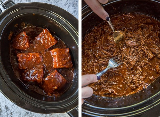 Two in process images showing the tender beef being shredded by two forks.