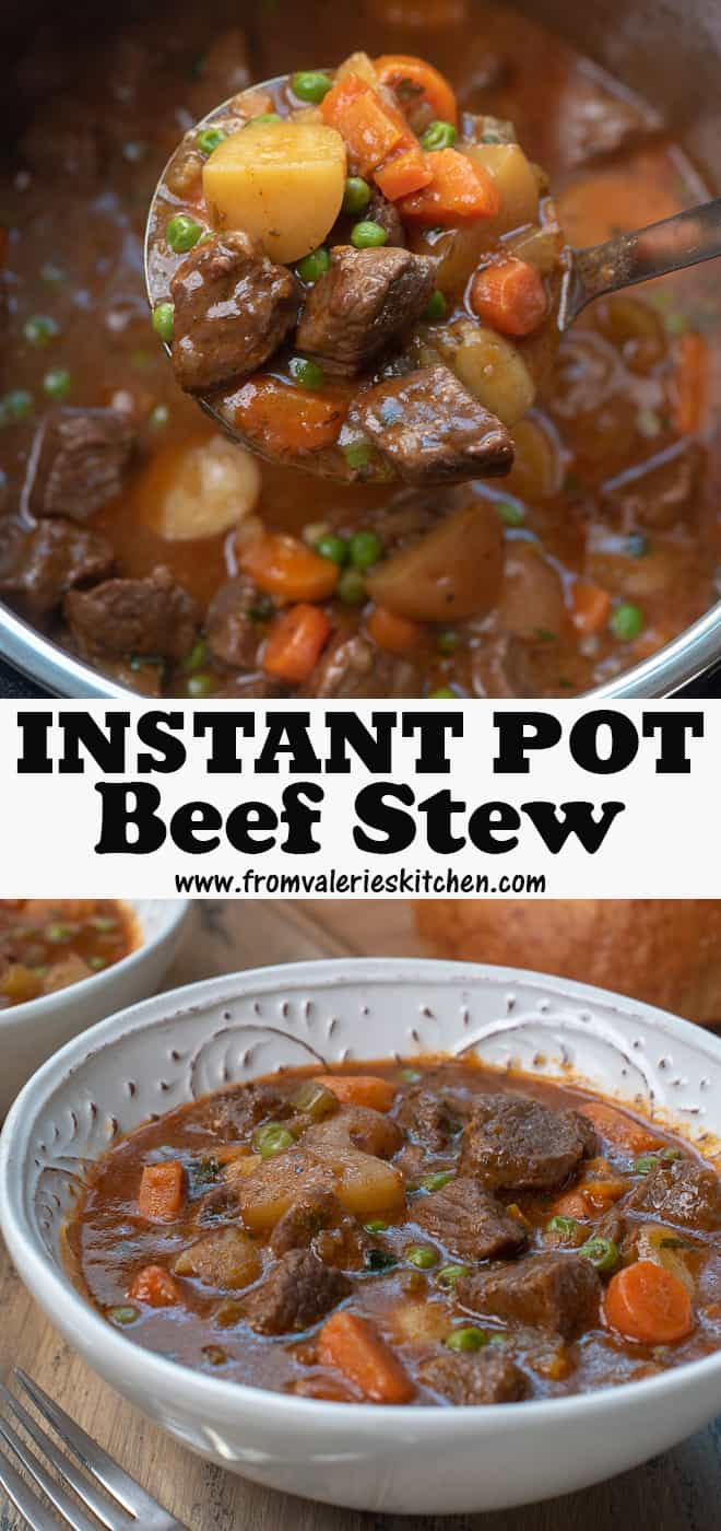 A vertical two image collage of Instant Pot Beef Stew with overlay text.