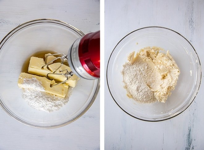 Two in process images showing the cookie dough being mixed with an electric mixer in a bowl.