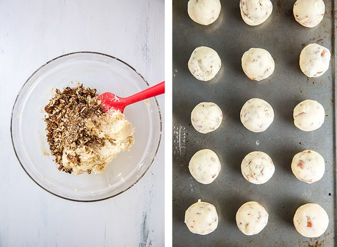 Two in process images showing the pecans being mixed into the dough and the cookie dough balls on a cookie sheet.