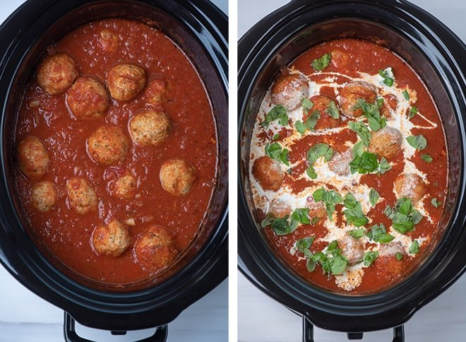 Two in process images showing the chicken meatballs after cooking in the sauce in the slow cooker and adding heavy cream and basil to the sauce.