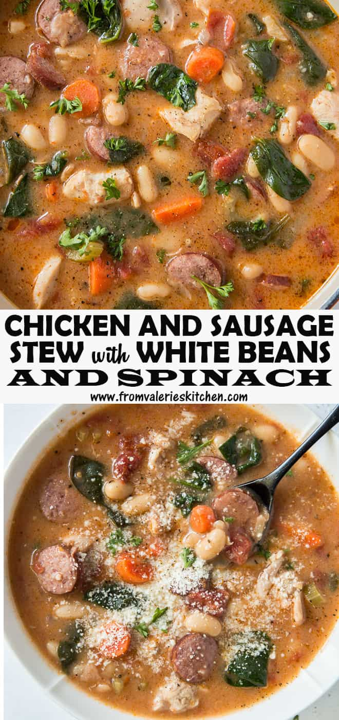 A two image vertical collage of Chicken and Sausage Stew with White Beans and Spinach with overlay text.