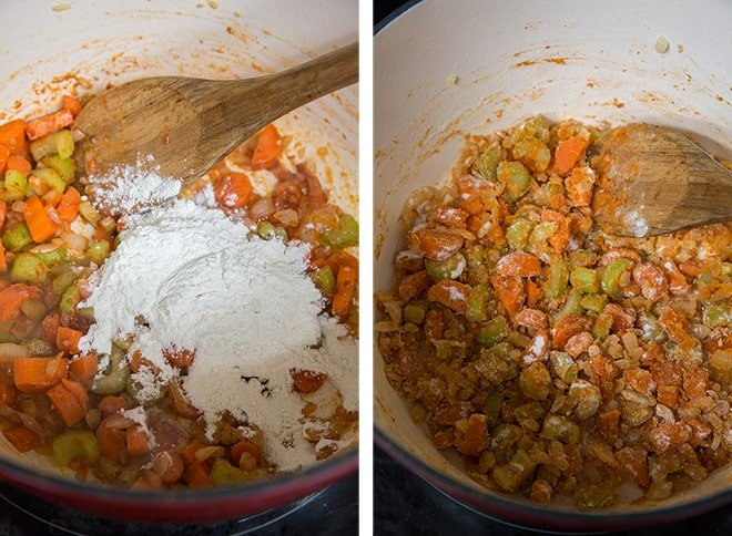 Two in process images showing flour added to the vegetable mixture in the pot.
