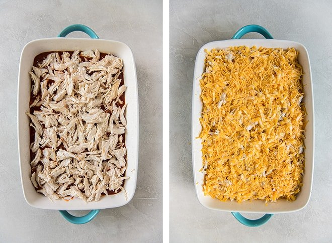 A layer of chicken is added to the casserole and is topped with cheese.