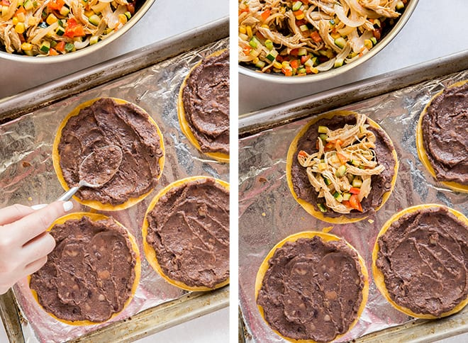 Two process images showing the black refried beans being spread on the crispy baked tortillas and then topped with the chicken and veggie mixture.