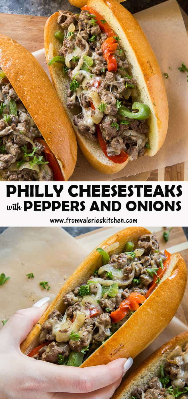 A two image vertical collage of Philly Cheesesteaks with Peppers and Onions with overlay text.