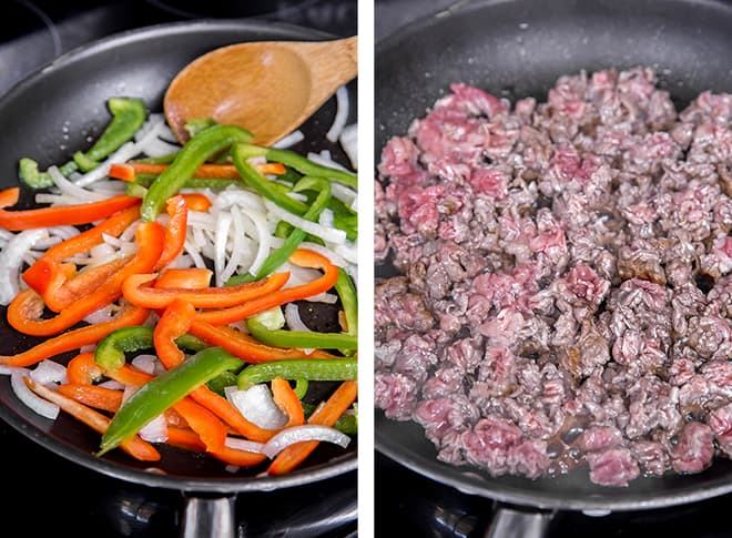 Two in process images showing sliced bell peppers and onions cooking in a skillet and the shopped sirloin cooking in the skillet.